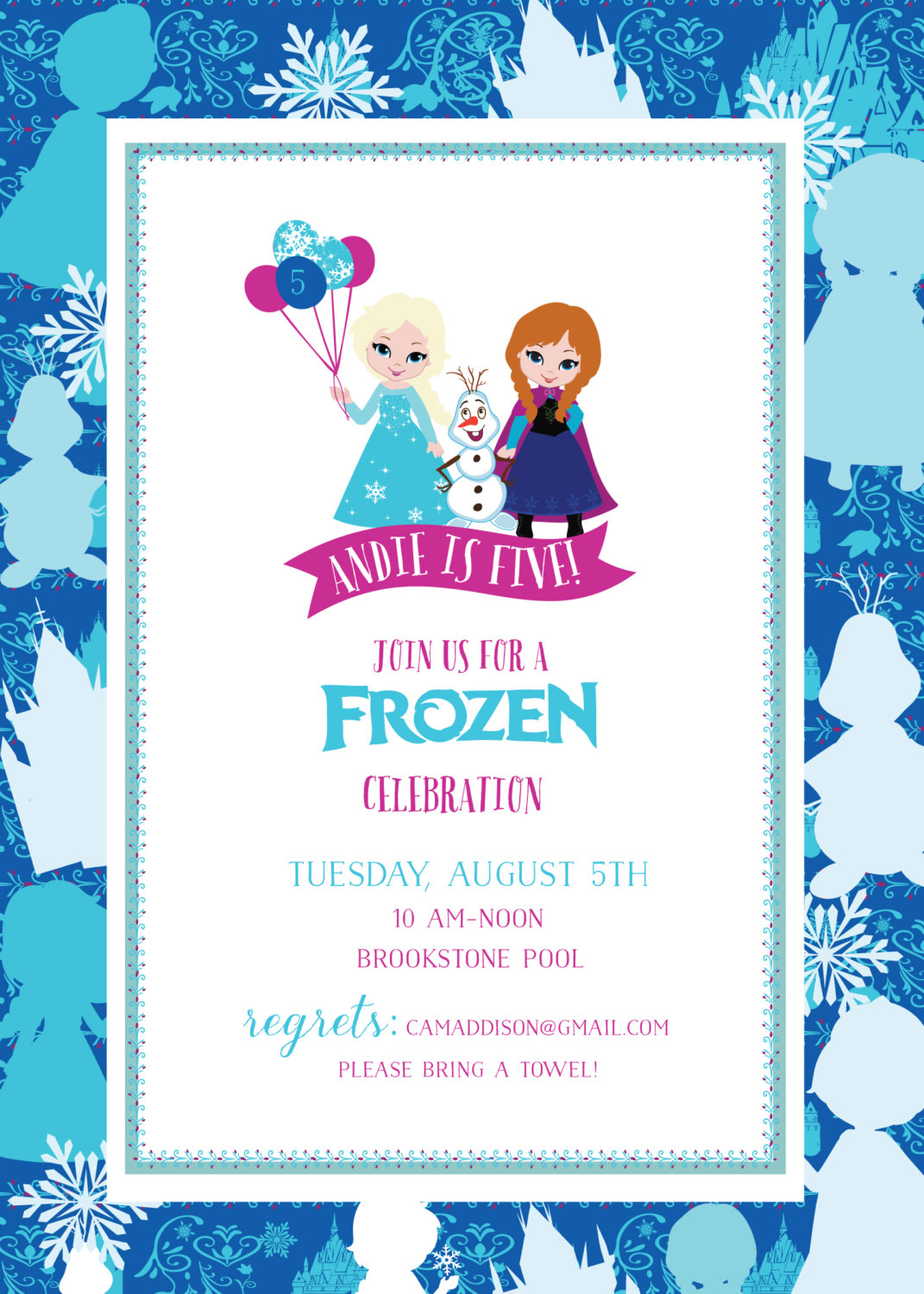 Frozen Birthday Invitation Frozen Printable Invitation Frozen