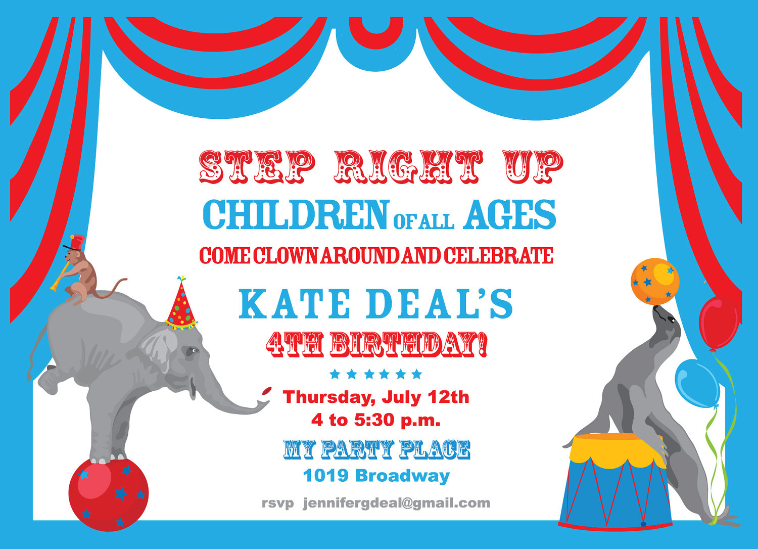 Circus Party Invitation- Childrens Birthday