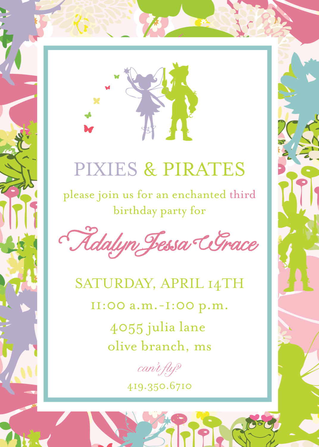 Pixie and Pirate Invitation- Tinkerbell